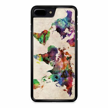 World Map Urban Watercolor iPhone 8 Plus Case