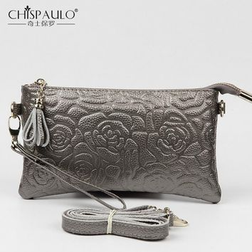 Silver Women Bag Genuine Leather Shoulder Bag Tassen Small Crossbody Bags For Women Messenger Bag Floral Cowhide Clutch Flap sac