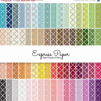 SALE 64 Diamond Square Pattern Digital Papers- 12x12 and 8.5x11 included-Digital Paper Rainbow includes dark, bright, neutral and pastel col