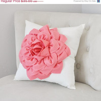 MOTHERS DAY SALE Light Coral Dahlia Felt Flower on Ivory Pillow - Pick your Colors - Pink Coral Flower Pillow