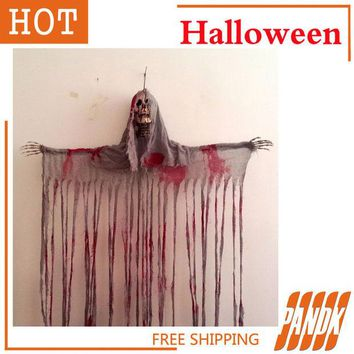 LMFET7 Hanging Reaper SKULL Head Zombie haunted house decorated Halloween props acoustic ghosts skeleton bloody door Skull curtain