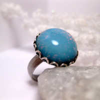 Snowy Blue Opal Ring