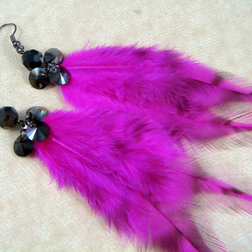 "Pink and Black Feather Earrings - Goth, Rave, Punk, Steampunk Feather Earrings - Black and Hot Pink 7"" Feather Earrings - Bold Colors"