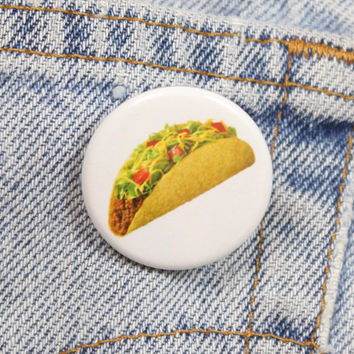 Hard Shell Taco 1.25 Inch Pin Back Button Badge