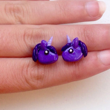 Purple unicorn polymer clay stud earrings