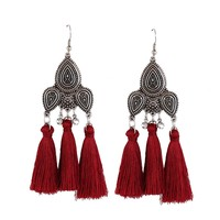 Long Tassel Fringe Dangle Earrings