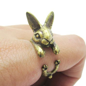 3D Realistic Bunny Rabbit Hare Shaped Animal Wrap Ring in Brass | US Sizes 6 to 9