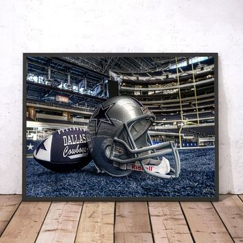 Unframed Modern Wall Art home decor Painting  Dallas cowboys football helmet Pictures For Drawing room Canvas Print