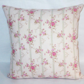 "Pale Pink Floral and Stripe Pillow, 17"" Square Linen,  Palest Pink Roses Aqua Stripe, Zipper Cover Only or Insert Included, Ready to Ship"