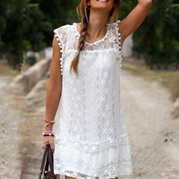 Womens Retro V Necked Lace Dress Dress Gift 30