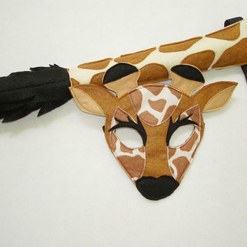 Children's Safari Animal GIRAFFE Felt Mask and Tail Set