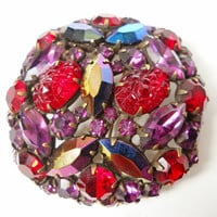 Molded Glass Brooch KRAMER of N.Y. AB Fruit Salad Rhinestone Vintage