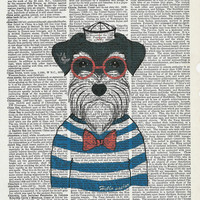 Illustration Poster,Sailor Dog, Dog Poster, Dictionary Art Print, Upcycle Poster,Vintage Page Book Print, Art  Poster,Collage Print