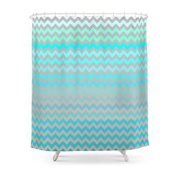 Society6 Blue And Gray Chevron Shower Curtains
