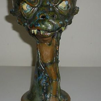 Handmade Clay Dragon Head Goblet Judhe Jensen of Topeka Kansas