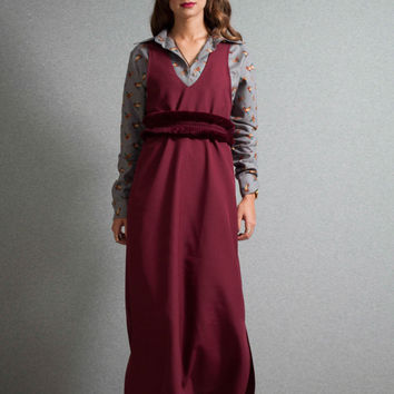 Burgundy tunic dress, v neck midi tunic