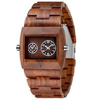 MEKU Men's Wood Wrist Watch Limited Edition Jupiter Red Dual Movement Wooden Wrist Watch Idea Gifts