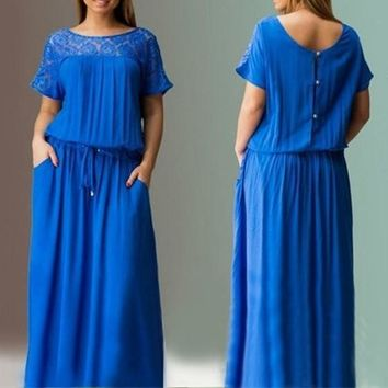 Blue Patchwork Lace Draped Buttons Drawstring Round Neck Short Sleeve Maxi Dress