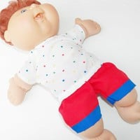 "Cabbage Patch 14 inch Doll Clothes or 15"" bitty baby doll clothes- white star shirt and red shorts"