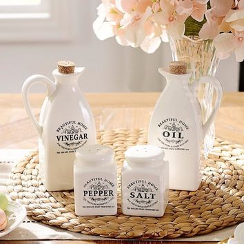 4 Piece Ceramic Store And Serve Salt Pepper Oil And Vinegar Condiment Container Set