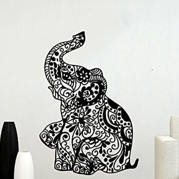 Wall Decal Elephant Vinyl Sticker Decals Lotus Indian Elephant Floral Patterns Mandala Tribal Buddha Ganesh Om Home Decor Art Bedroom Design Interior