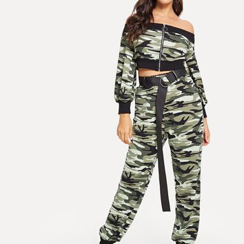 Camo Print Zipper Up Crop Top & Sweatpants Set