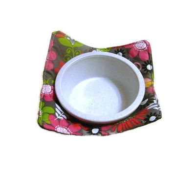 Red and Grey Retro Floral Microwave Bowl Pot Holder