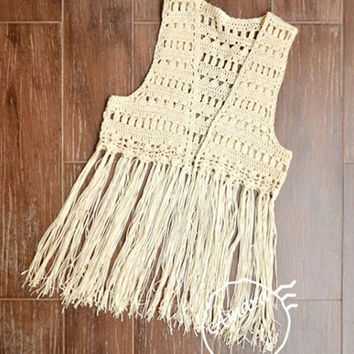 Free Crochet Cotton Vest Pattern : Shop Crochet Fringe Vest on Wanelo