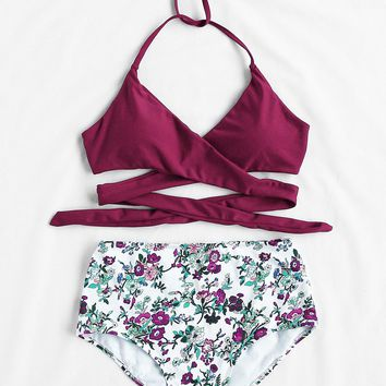 Calico Print High Waist Wrap Bikini Set