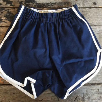 NOS Vintage Retro Estate Navy Blue Trimmed in White Polyester Gym Shorts Size M Track PE Disco Physical Education Cheerleader