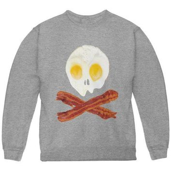 PEAPGQ9 Eggs And Bacon Skull And Cross Bones Youth Sweatshirt