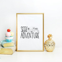 Seek Adventure Baby Shower Gift Bedroom Decor, Woodland Inspirational Printable Nursery Wall Art Poster Instant Download, Mountain Camping