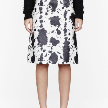 Burberry Prorsum Black And White Lambskin Animal Print Pencil Skirt