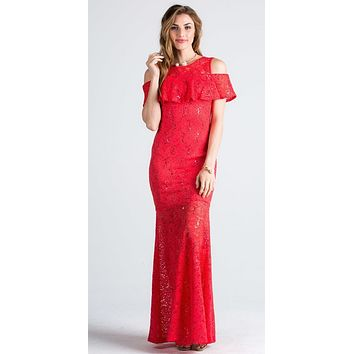 CLEARANCE - Lace Cold Shoulder Mermaid Style Long Formal Dress Coral (XL)