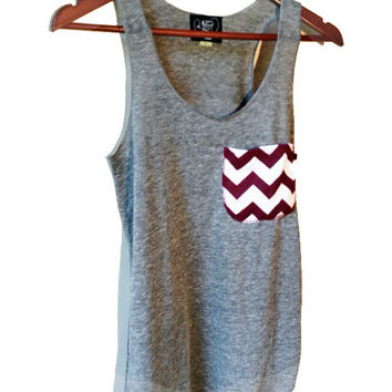 Maroon and White Chevron Pocket Tank in Heather Gray Available in S-M-L-XL School Colors
