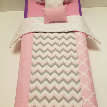 4 Piece American Girl Doll Bedding, 18 inch doll bedding, American Girl Bedding, My Life Doll, Journey Girl, Wellie Wisher