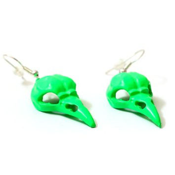 Raven Skull Dangling Earrings Neon Green Crow Occult Bird Head EB50 Fashion Jewelry