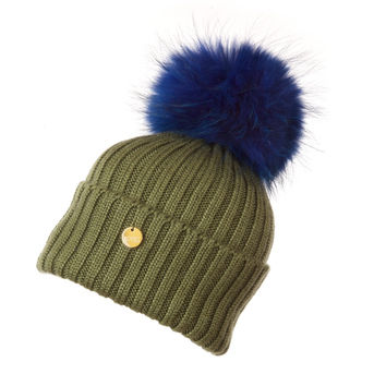 Luxury Fur Pom Pom Hat Blue