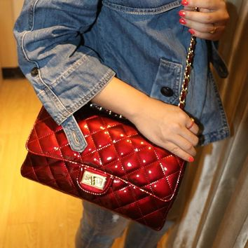 Women Simple Fashion Lacquer Leather Rhombic Grid Handbag Metal Chain Single Shoulder Messenger Bag