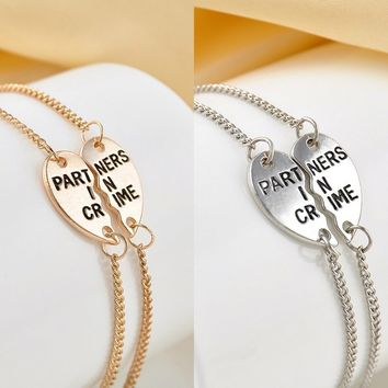2pcs/Set Chic Heart Best Friend BFF Chain Anklet Bracelet Partners in Crime Gift