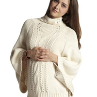 Cable-Knit Poncho Maternity & Nursing Sweater