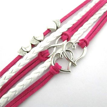 Pink infinity heart friendship leather charm bracelet