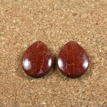 Red Creek Jasper Cabochon Earring Pair - Red Smooth Undrilled Teardrop Beads, 1 pair