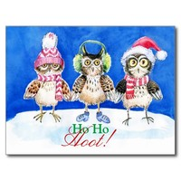 Christmas owls watercolor art postcards