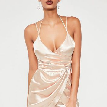 Missguided - nude silky asymmetric ruched romper