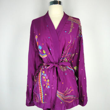 Silk Kimono / Festival Jacket / Hand Made Vintage Indian Sari / Purple Orange Rainbow Sequins Beaded Embroidery / Limited Edition