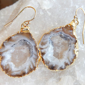 Geode Slice Earrings Dangle Earrings, Stone Earrings Boho Jewelry, Rock Earrings, Agate Druzy Crystal Jewelry - Free Shipping Jewelry