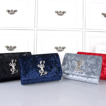 """Yves Saint Laurent YSL"" Women All-match Fashion Velvet Five-pointed Star Metal Chain Single Shoulder Messenger Bag"