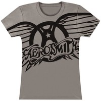 Aerosmith  Winged Logo Tissue Junior Top Asphalt