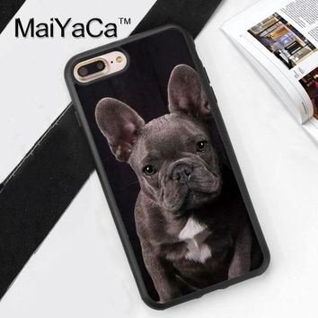 MaiYaCa French Bulldog Grey Puppy Dog Soft TPU Cover case For iphone 7 Plus TPU Phone Cases For Apple iphone 7 Plus Shell